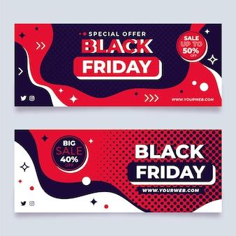 フラットなデザインの黒い金曜日のバナー