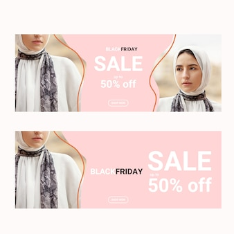 Black friday banners template with photo