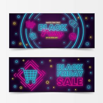 Black friday banners with neon design