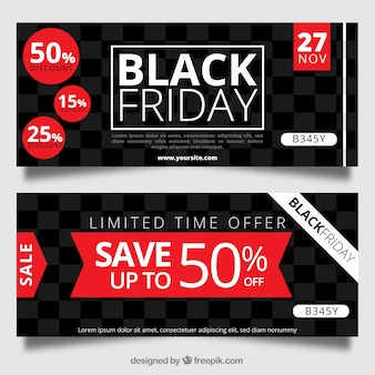 Black friday banners with squares
