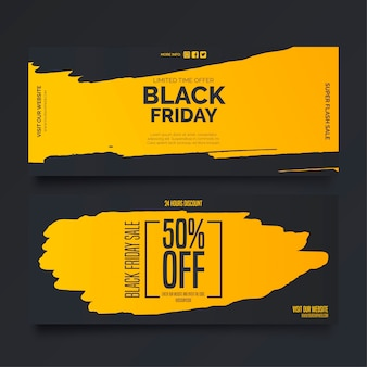 Black friday banners in yellow and black colors