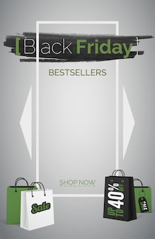 Black friday bestsellers 3d web banner vector template. up to 40 percent discount poster layout. most frequently buying items. purchase bargain. shopping bags with sale tag. text in white frame