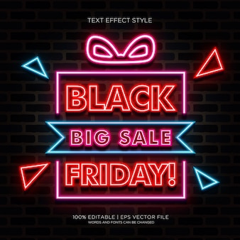 Black friday big sale banner with neon text effects