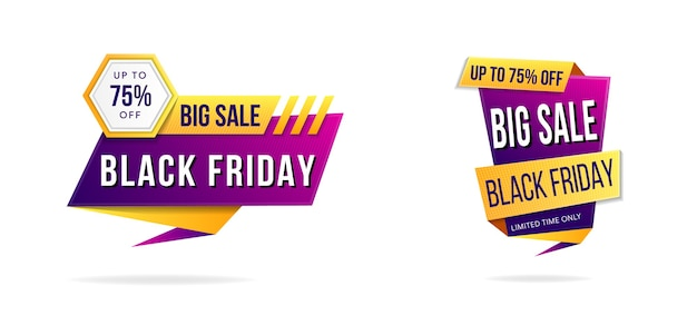 Black friday big sale element banner use combination purple pink and orange yellow gradients color.