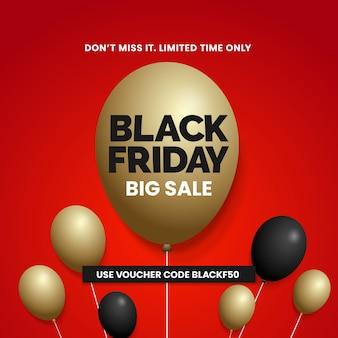 Black friday big sale golden balloon for social media poster promotion template design