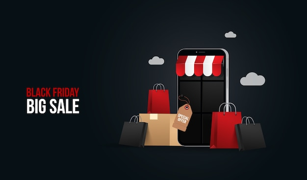 Black friday big sale online shopping illustration concept