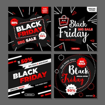 Black friday - big sale, special offer and discount for instagram post vector