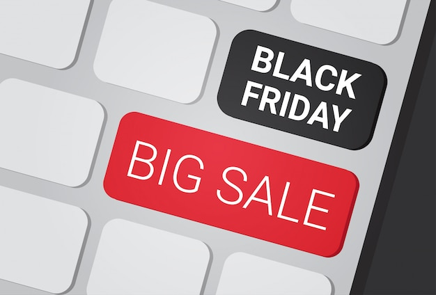 Black friday big sale text on laptop keyboard buttons shopping discounts