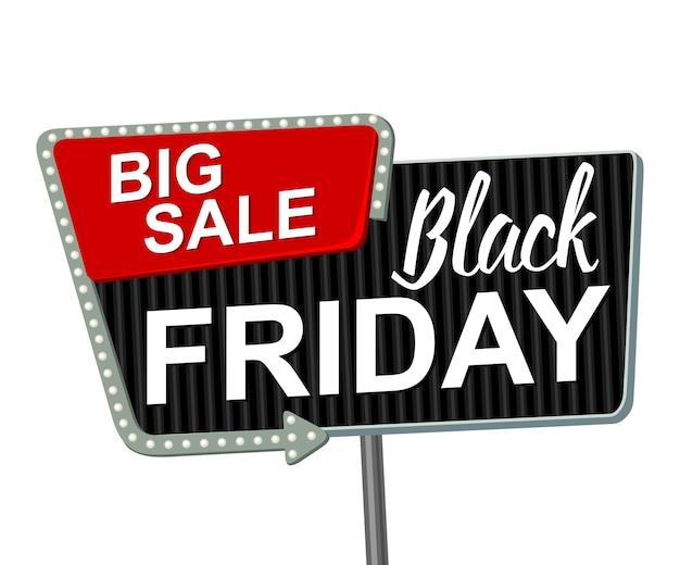 Black friday billboard in retro style with and arrow glowing bulbs. flat illustration isolated on white background.