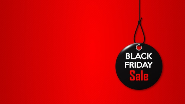 Black friday. black tag on the rope.  promotional banner for special holiday discount.