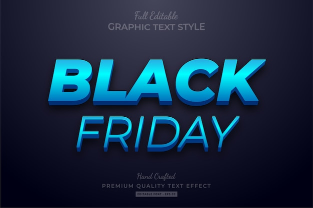 Black friday blue editable text style effect premium