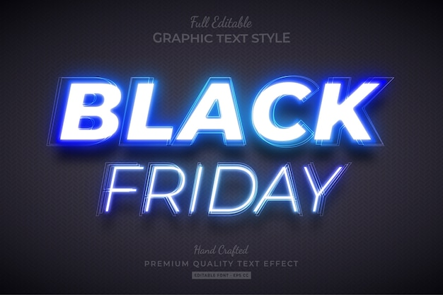Black friday blue neon editable text style effect