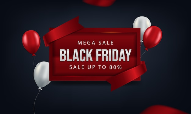 Black friday on board a red with red and white balloons