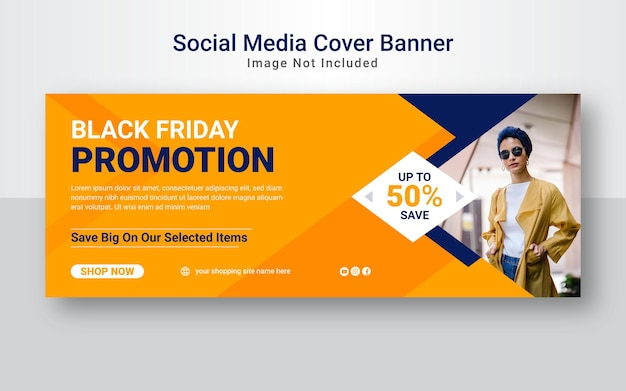 Black friday business promotional facebook cover or web banner template.