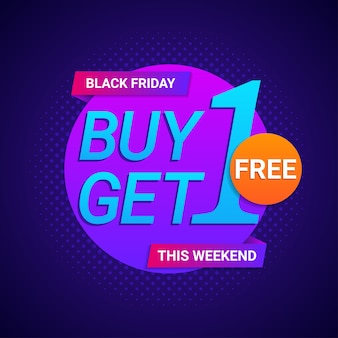 Black friday buy 1 get 1 free banner in neon color background