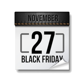 Black friday calendar. 27 november. black friday 2020. big sale.   isolated on white background. template for advertising sale and discount