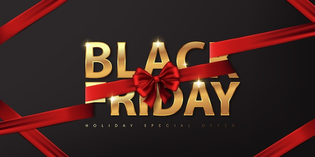Black friday. calligraphic golden color on dark background.the color ribbon red luxury.