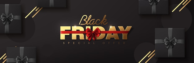 Black friday. calligraphic golden color on dark background.