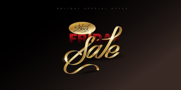 Black friday. calligraphic handmade lettering black friday, the color ribbon gold luxury.
