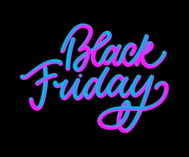 Black friday calligraphic lettering in neon style
