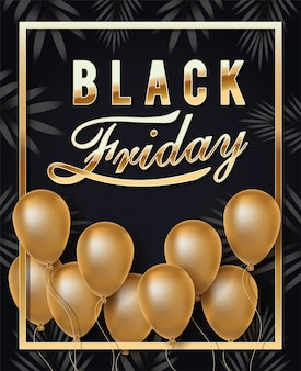 Black friday calligraphy in golden frame with balloons helium