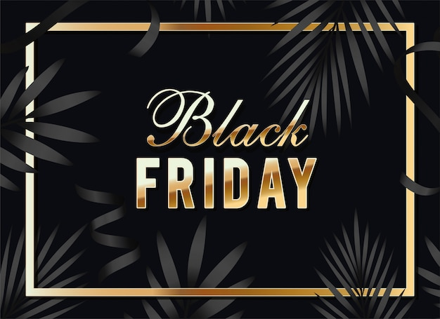 Black friday calligraphy in golden frame with leafs
