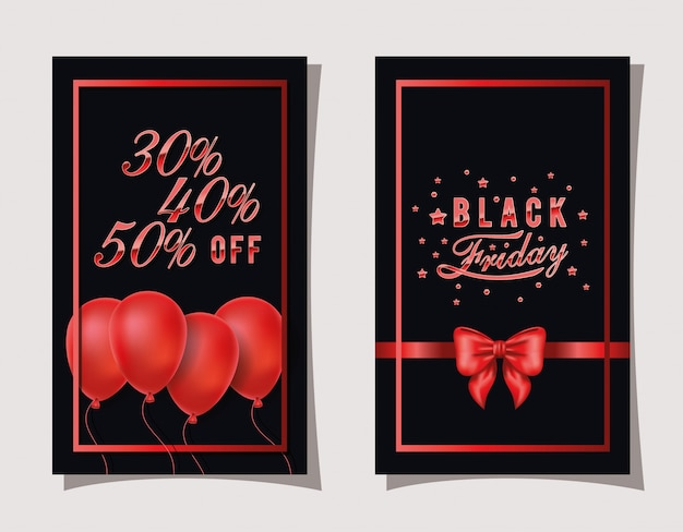 Black friday calligraphy in red color frame and balloons helium