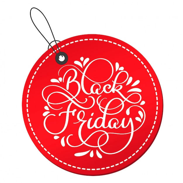 Black friday calligraphy text on red round tag
