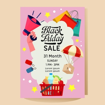 Black friday campaign sale poster with shopping item