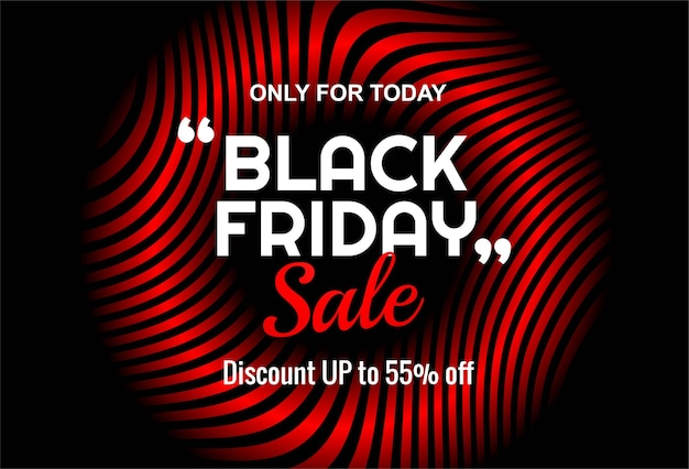 Black friday card banner with red lines