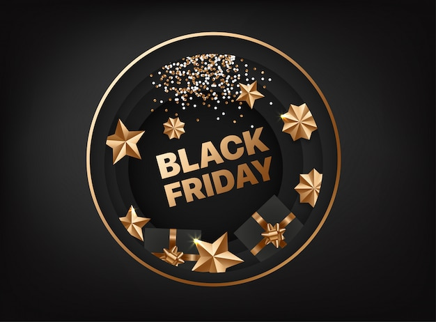 Black friday  card with golden elements