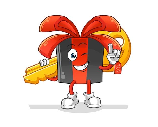 Black friday carry the key mascot. cartoon