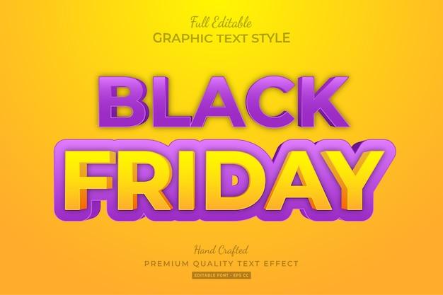 Black friday cartoon editable text style effect
