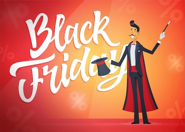 블랙 프라이데이 - 주황색 배경에 서예 텍스트가 있는 만화 인물 삽화. 고품질 브러시 펜 레터링. 해트트릭을 하는 마술사의 이미지. 큰 판매, 쇼핑 개념