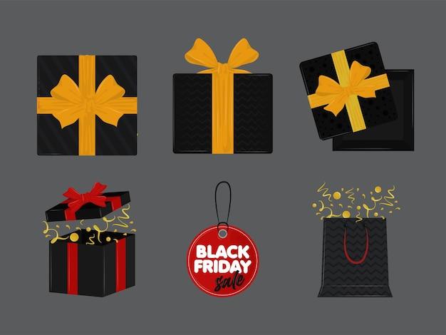 Набор иконок празднования черной пятницы
