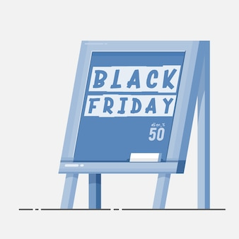 Black friday - chalk board with banner.
