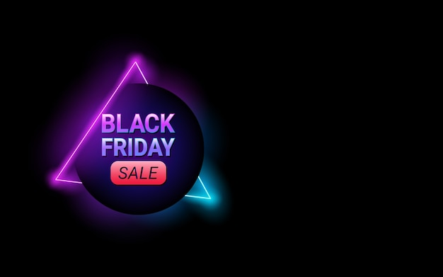 Black friday circle sale tag in neon light color background