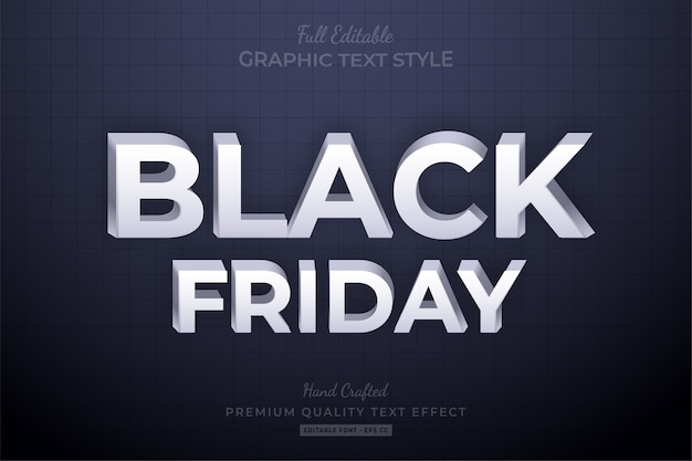 Black friday clean editable text style effect premium