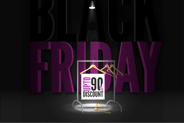 Black friday clothing sale banner template. 90 percent price reduction advert. lamp light illuminating hangers on rack in darkness. uppercase violet lettering, discount promo poster design layout