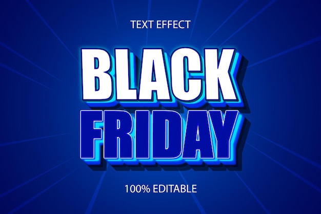 Black friday color blue editable text effect