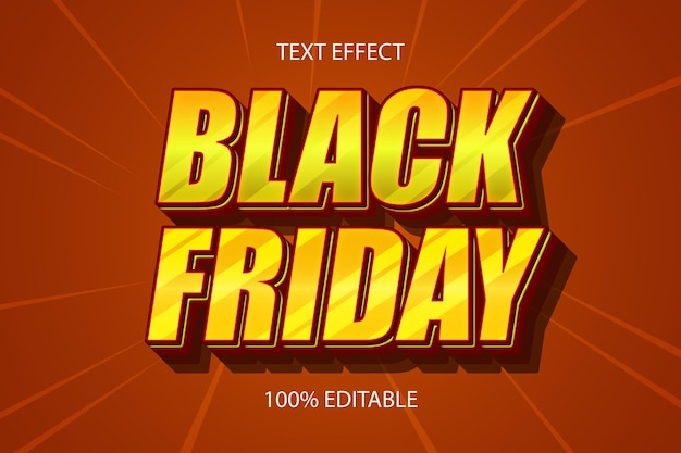 Black friday color yellow brown editable text effect