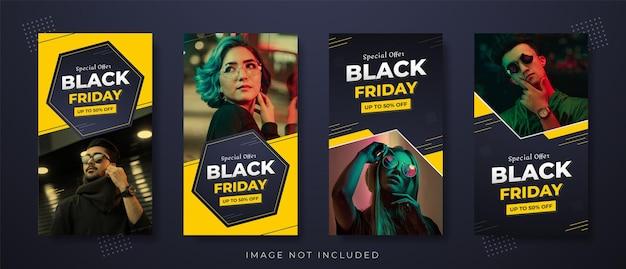 Black friday colorful fashion sale banner social media or instagram story ad post design set