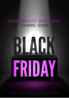 Black friday coming soon vector poster template. limelight illuminating coming discounts advert and 3d box. trendy sale offer with text space on brick wall background. special price banner design