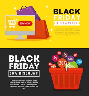 Black friday computer bags and basket design, sale offer save and shopping