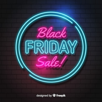 Black friday concept with neon background Premium Vector