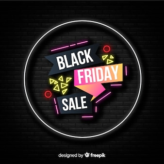 Black friday concept with neon design