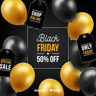 Black friday concept with realistic background