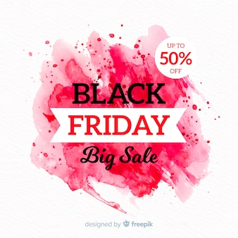 Black friday concept with watercolor background