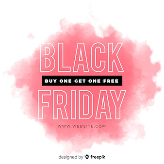 Black friday concept with watercolor stain