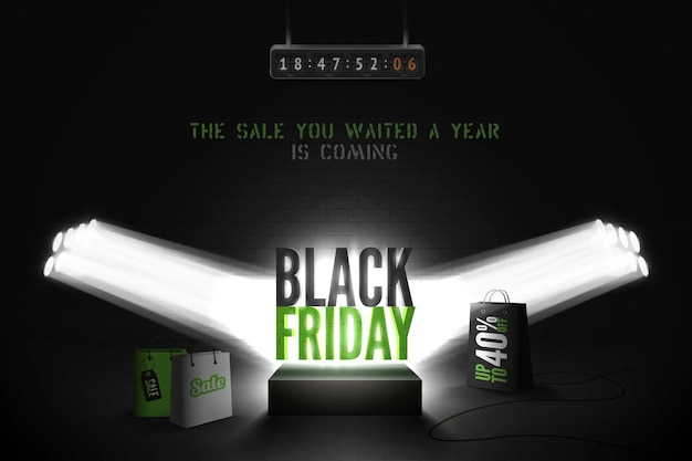 Black friday countdown realistic vector banner template. year biggest sale advert with 3d shopping bags, clock counter, timer in spotlights. trendy discount offer promo poster design
